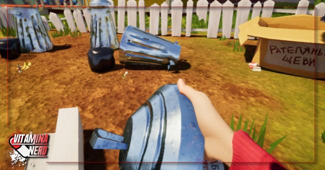 Quase todos os objetos do cenário são interativos, inclusive essa bela tampa de lixo