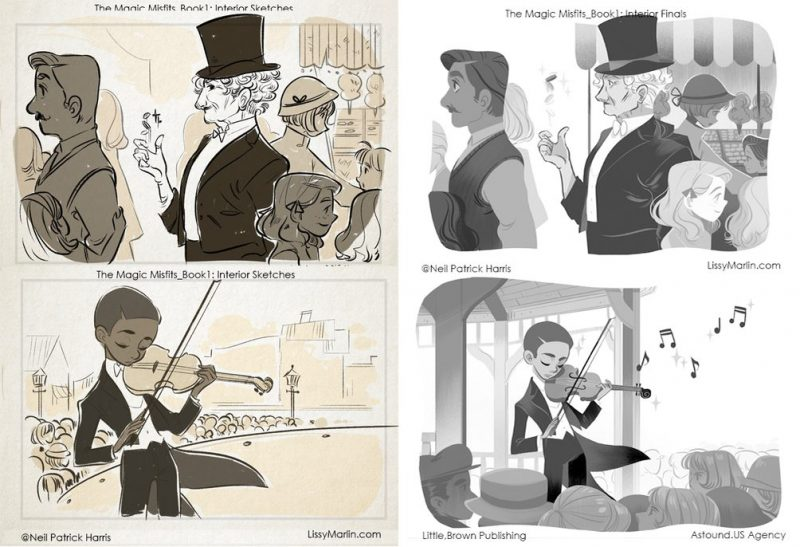 Os sketches (esquerda) e a arte final (direita) de Lissy Marlin para Os Arteiros Mágicos