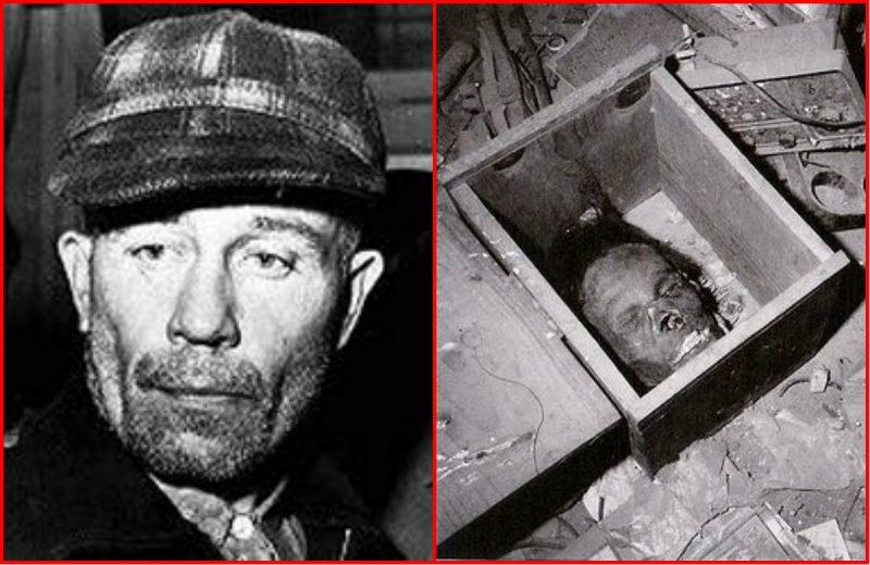 Ed Gein e uma máscara feita de rosto humano encontrada em sua casa