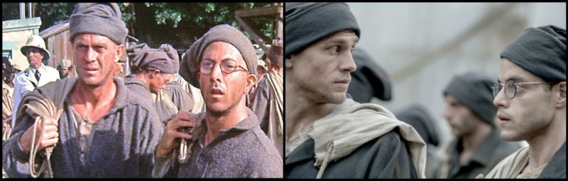 Steve McQueen com Dustin Hoffman e Charlie Hunnam com Rami Malek