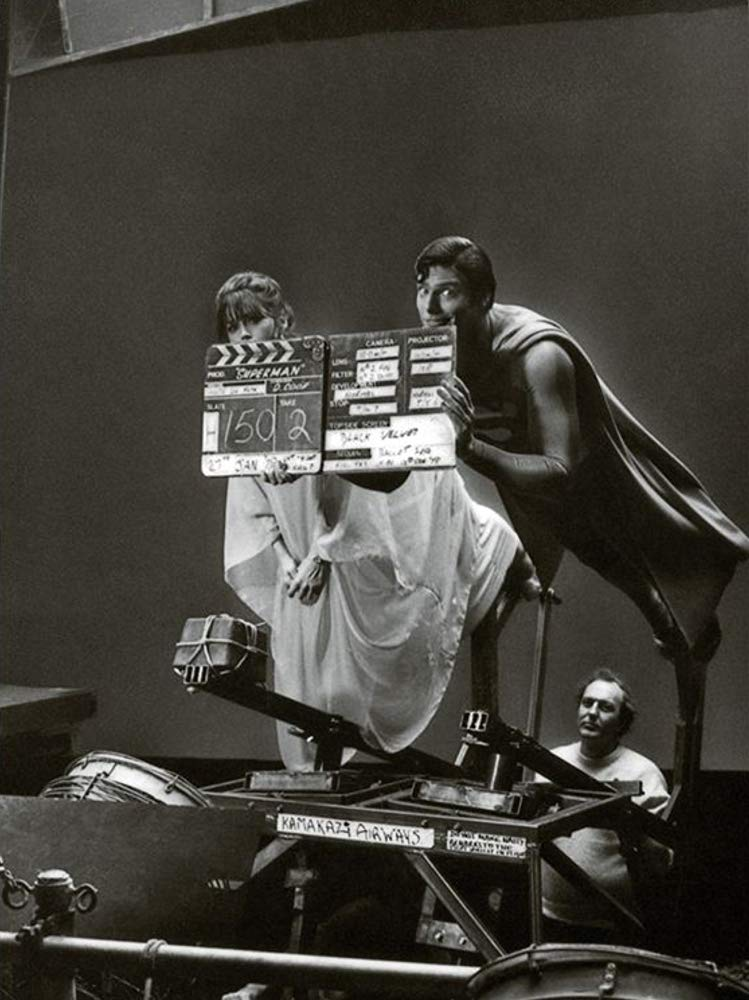 Christopher Reeve e Margot Kidder gravando