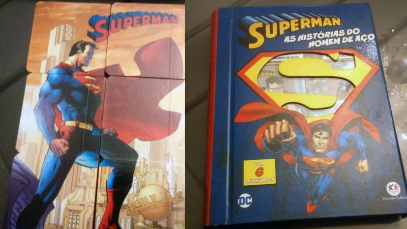 Essa versão do Box DC Comics é do Superman, ao colocar os livros lado a lado eles ainda formam essa imagem aí!