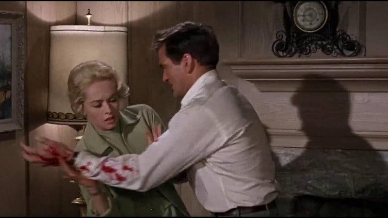 Tippi Hedren e Rod Taylor em cena do filme