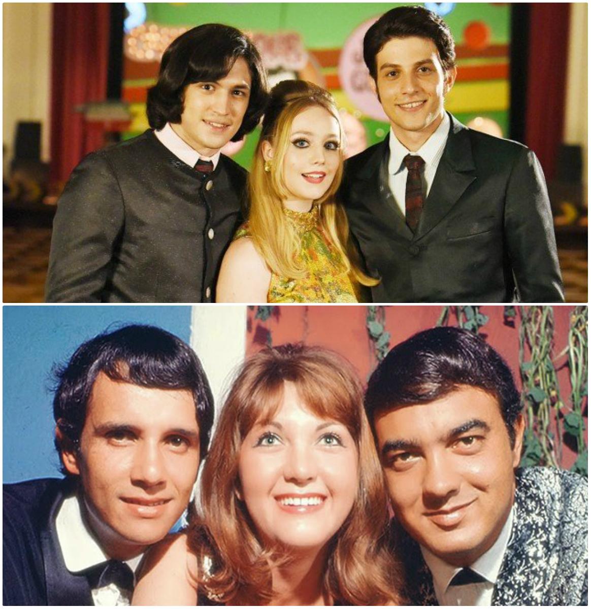 Roberto Carlos (Gabriel Leone), Wanderléa (Malu Rodrigues) e Erasmo Carlos (Chay Suede)