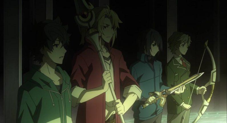Em ordem: o escudo, a lança, a espada e o arco em The Rising of the Shield Hero
