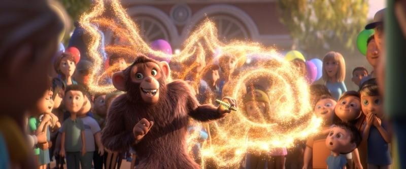 Peanut é o macaco que desenha com uma caneta mágica em O Parque dos Sonhos