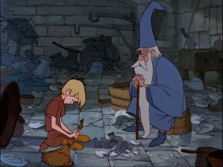 Arthur e Merlin em A Espada Era a Lei - O Único e Eterno Rei