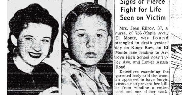 Matéria sobre o assassinato de Jean Ellroy, mãe de James
