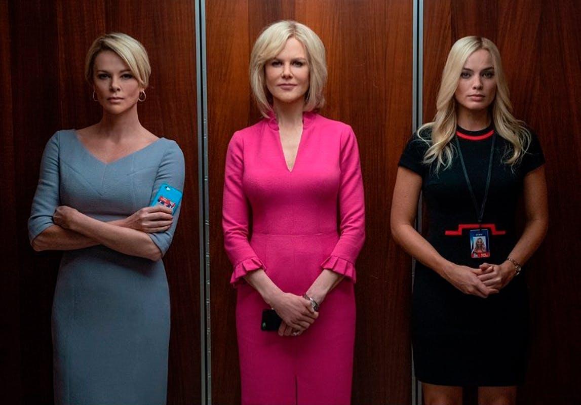Theron, Kidman e Robbie em cena do filme O Escândalo